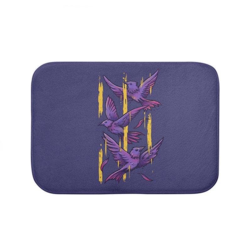 Purple Birds In Golden Rain Home Bath Mat by c0y0te7's Artist Shop