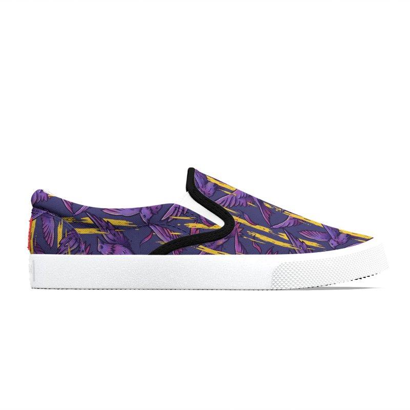 Purple Birds In Golden Rain Women's Shoes by c0y0te7's Artist Shop
