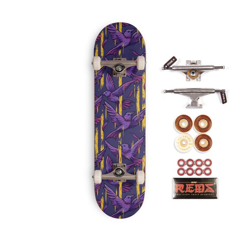 Purple Birds In Golden Rain Accessories Skateboard by c0y0te7's Artist Shop