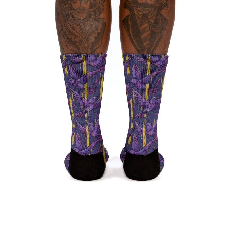 Purple Birds In Golden Rain Women's Socks by c0y0te7's Artist Shop