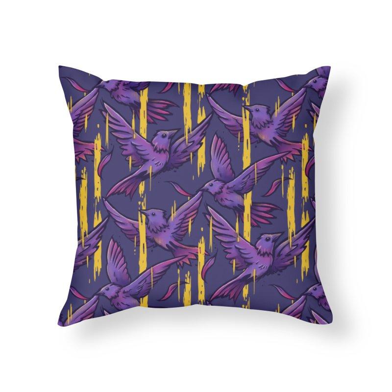 Purple Birds In Golden Rain Home Throw Pillow by c0y0te7's Artist Shop