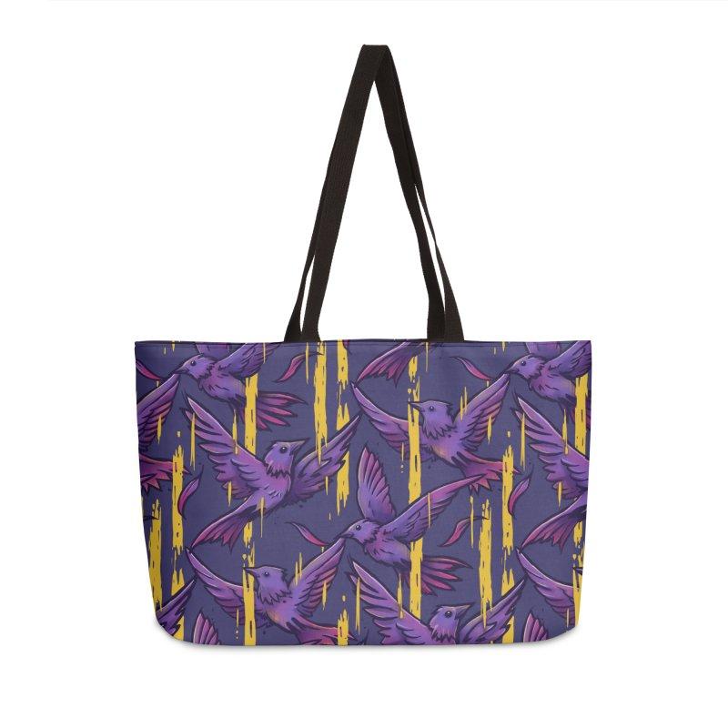 Purple Birds In Golden Rain Accessories Bag by c0y0te7's Artist Shop