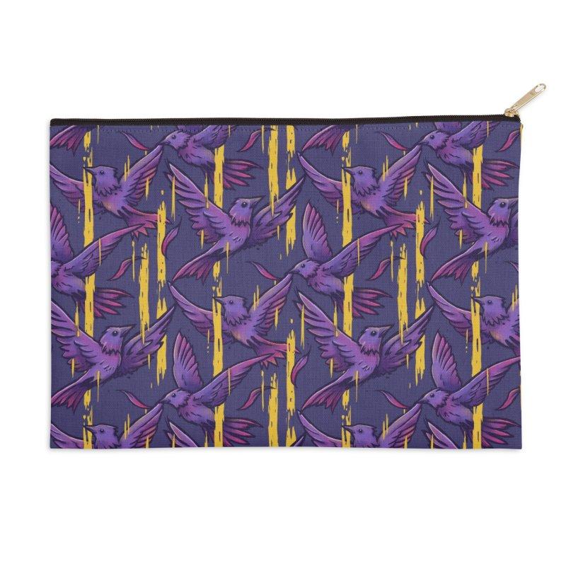 Purple Birds In Golden Rain Accessories Zip Pouch by c0y0te7's Artist Shop