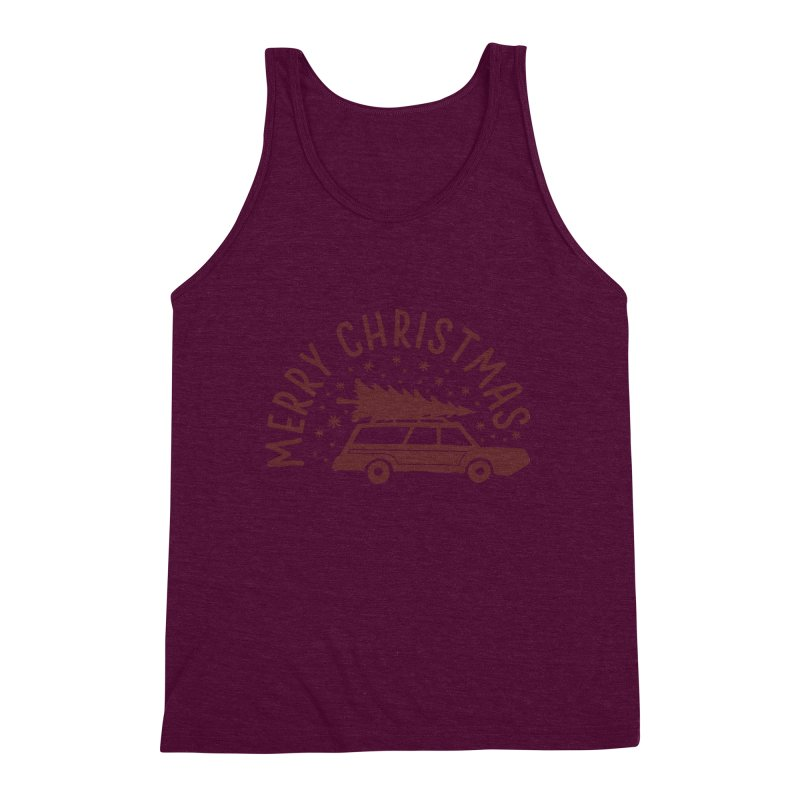 Merry Christmas Men's Triblend Tank by cabinsupplyco's Artist Shop