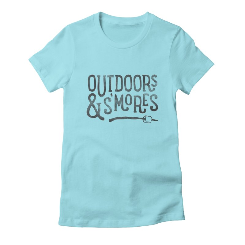 Outdoors & S'mores Women's Fitted T-Shirt by cabinsupplyco's Artist Shop