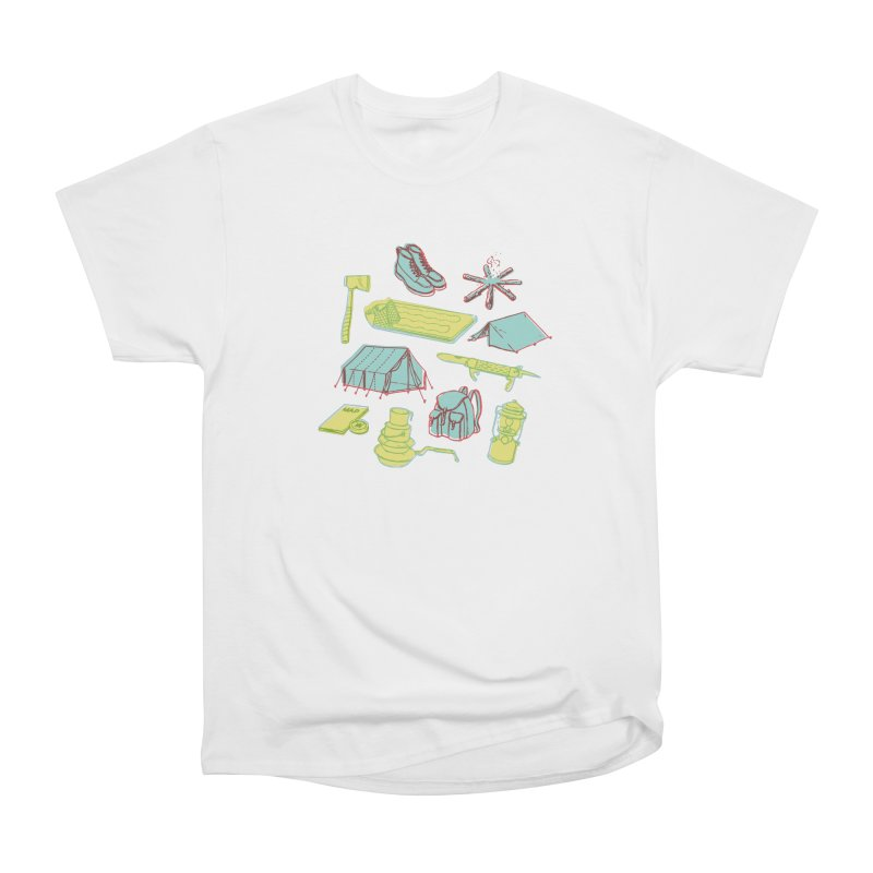Retro Camping in Men's Heavyweight T-Shirt White by cabinsupplyco's Artist Shop