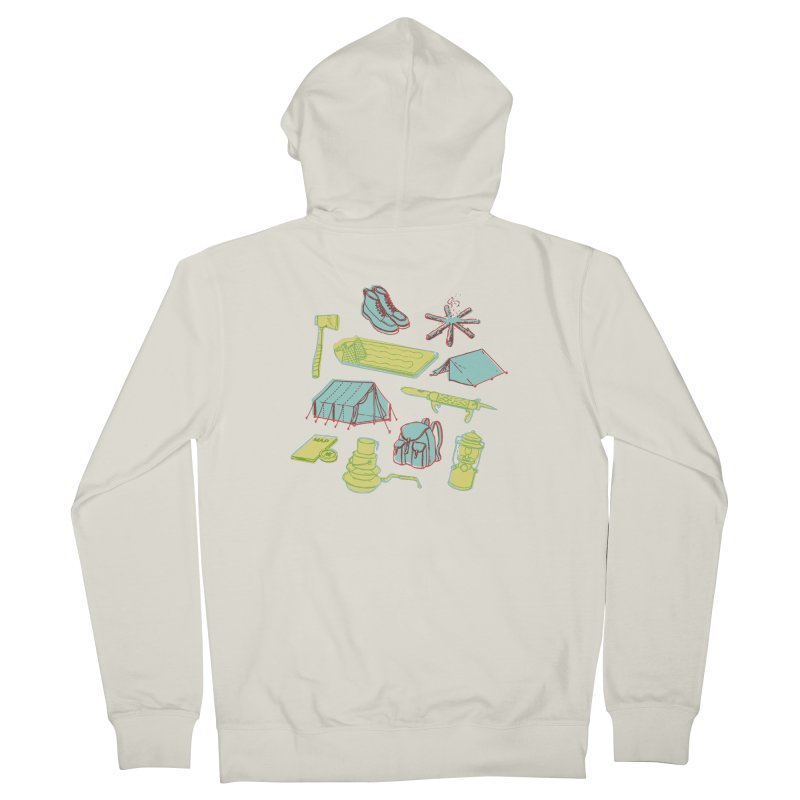 Retro Camping Women's French Terry Zip-Up Hoody by cabinsupplyco's Artist Shop