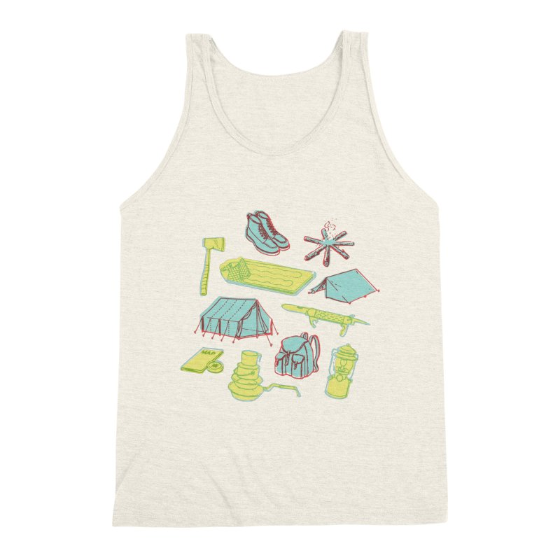 Retro Camping Men's Triblend Tank by cabinsupplyco's Artist Shop