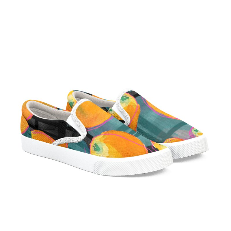 Oranges in Watercolor on Dark Stripes Women's Slip-On Shoes by Cactus Branch