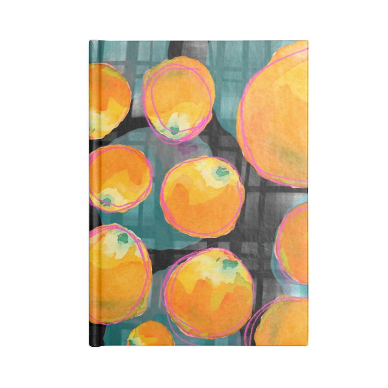 Oranges in Watercolor on Dark Stripes Accessories Lined Journal Notebook by Cactus Branch