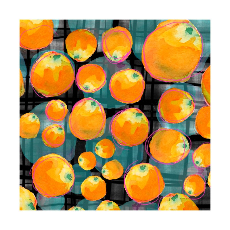 Oranges in Watercolor on Dark Stripes Accessories Sticker by Cactus Branch