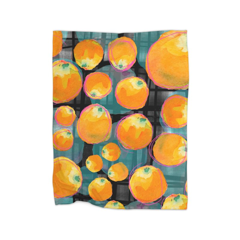 Oranges in Watercolor on Dark Stripes Home Fleece Blanket Blanket by Cactus Branch