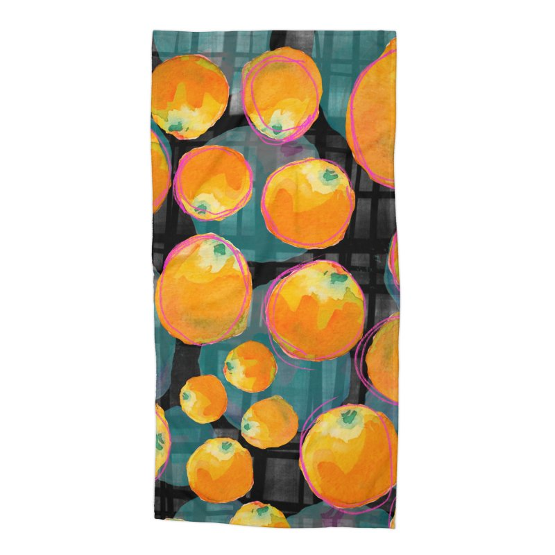 Oranges in Watercolor on Dark Stripes Accessories Beach Towel by Cactus Branch