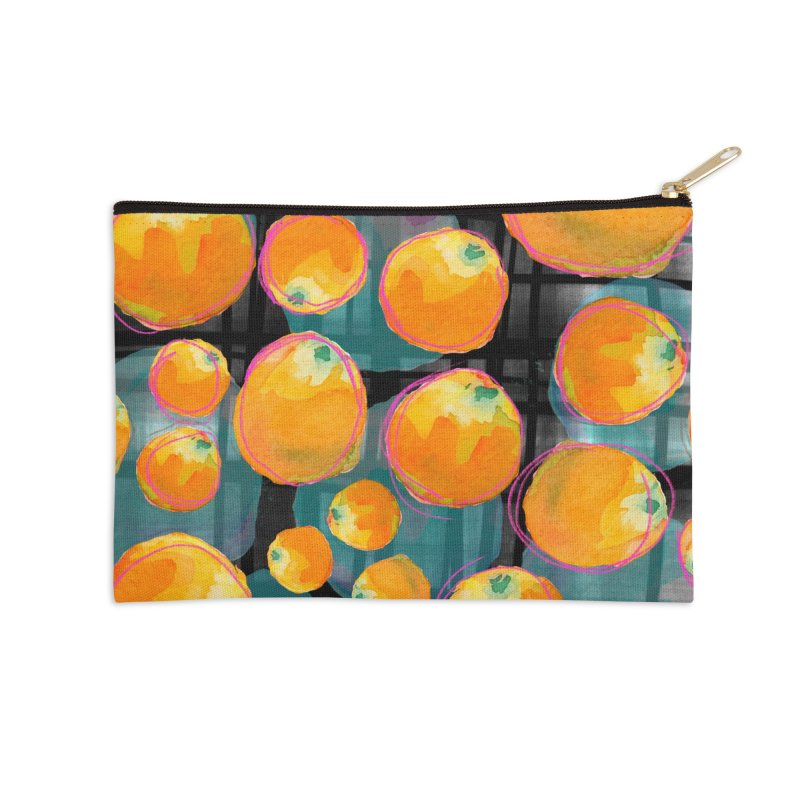 Oranges in Watercolor on Dark Stripes Accessories Zip Pouch by Cactus Branch