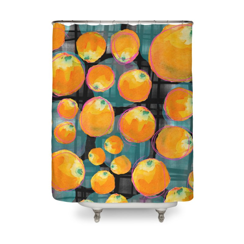 Oranges in Watercolor on Dark Stripes Home Shower Curtain by Cactus Branch