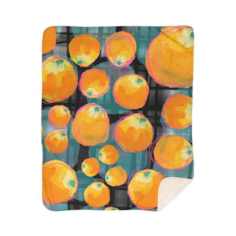 Oranges in Watercolor on Dark Stripes Home Sherpa Blanket Blanket by Cactus Branch