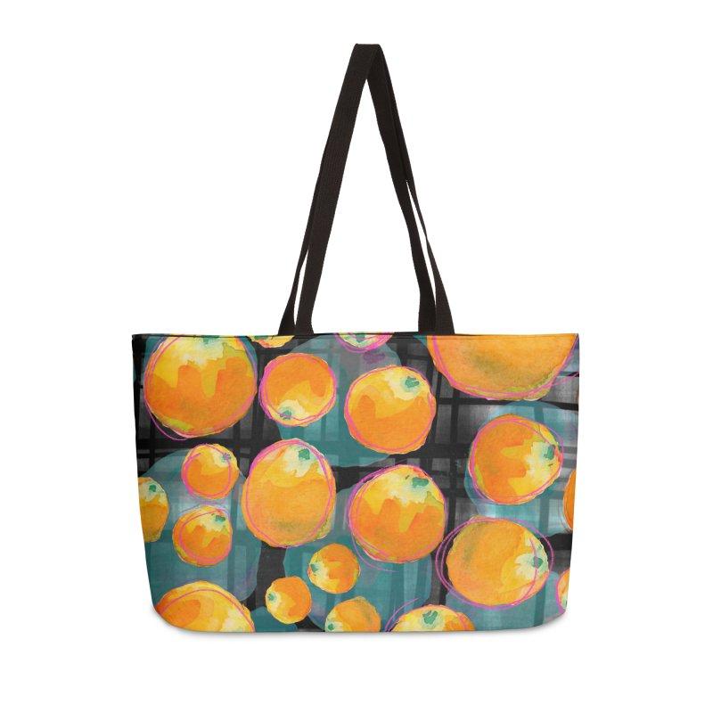 Oranges in Watercolor on Dark Stripes Accessories Weekender Bag Bag by Cactus Branch