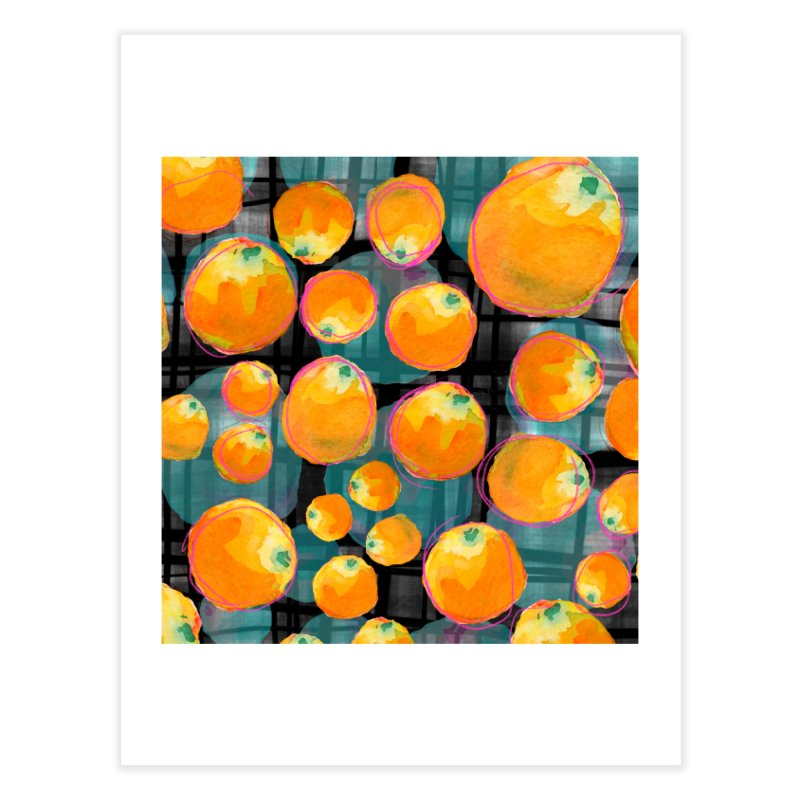 Oranges in Watercolor on Dark Stripes Home Fine Art Print by Cactus Branch