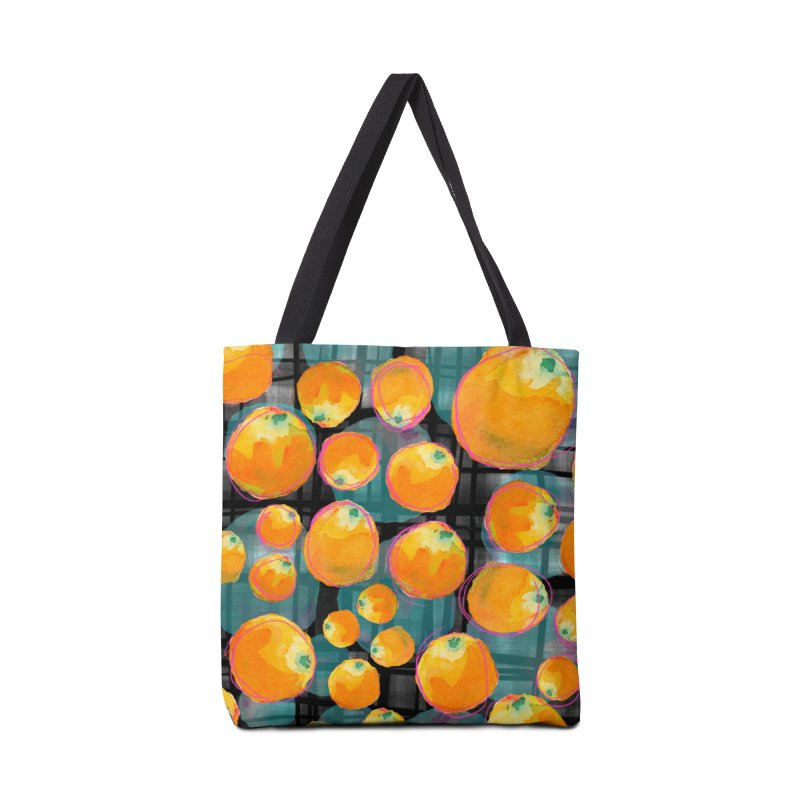Oranges in Watercolor on Dark Stripes Accessories Tote Bag Bag by Cactus Branch