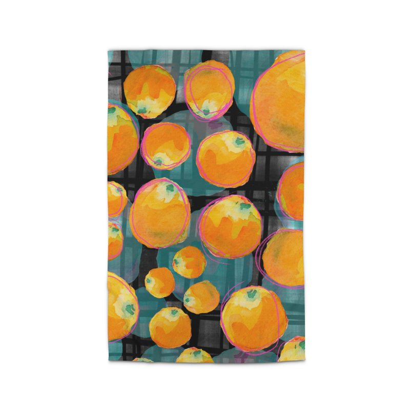 Oranges in Watercolor on Dark Stripes Home Rug by Cactus Branch