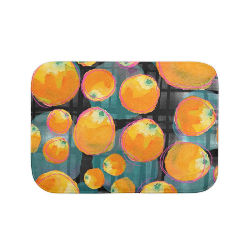 Oranges in Watercolor on Dark Stripes Home Bath Mat by Cactus Branch