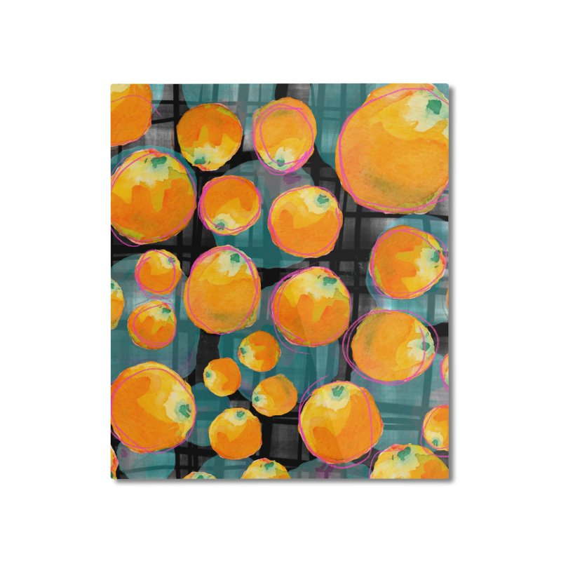 Oranges in Watercolor on Dark Stripes Home Mounted Aluminum Print by Cactus Branch