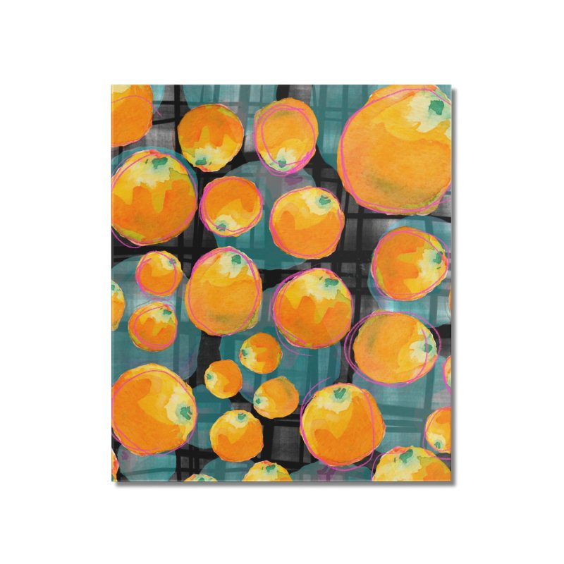 Oranges in Watercolor on Dark Stripes Home Mounted Acrylic Print by Cactus Branch
