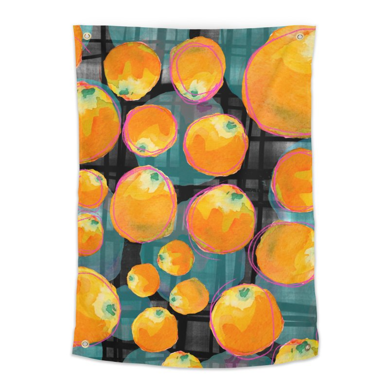 Oranges in Watercolor on Dark Stripes Home Tapestry by Cactus Branch