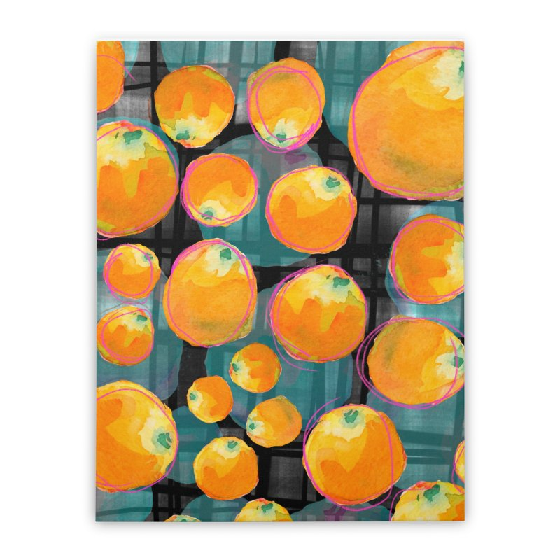 Oranges in Watercolor on Dark Stripes Home Stretched Canvas by Cactus Branch