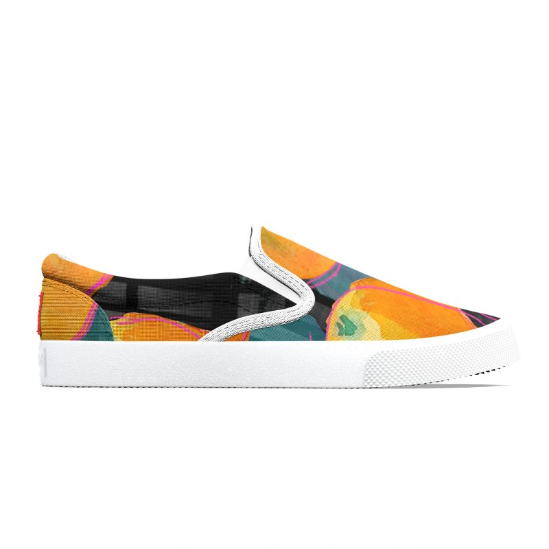 Oranges in Watercolor on Dark Stripes Women's Shoes by Cactus Branch