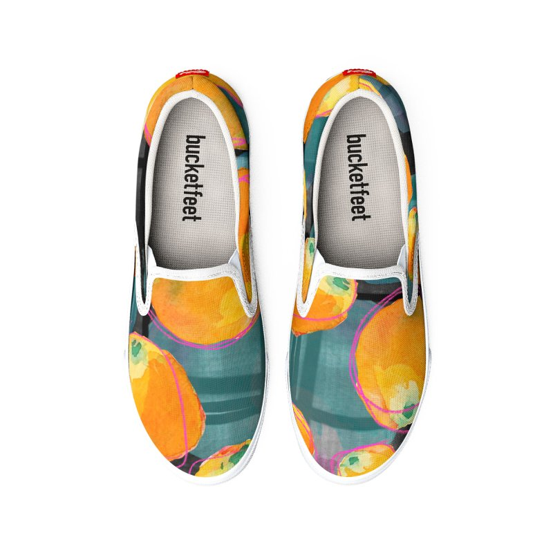 Oranges in Watercolor on Dark Stripes Men's Shoes by Cactus Branch