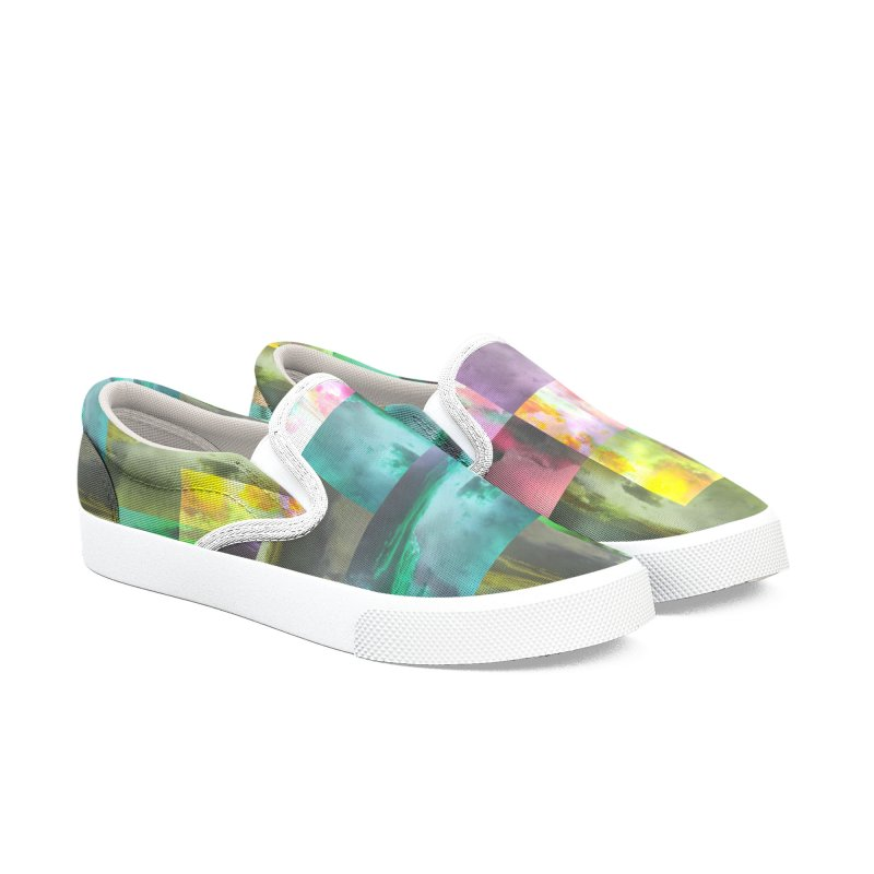 Geometric Arizona Sunset Clouds Men's Slip-On Shoes by Cactus Branch