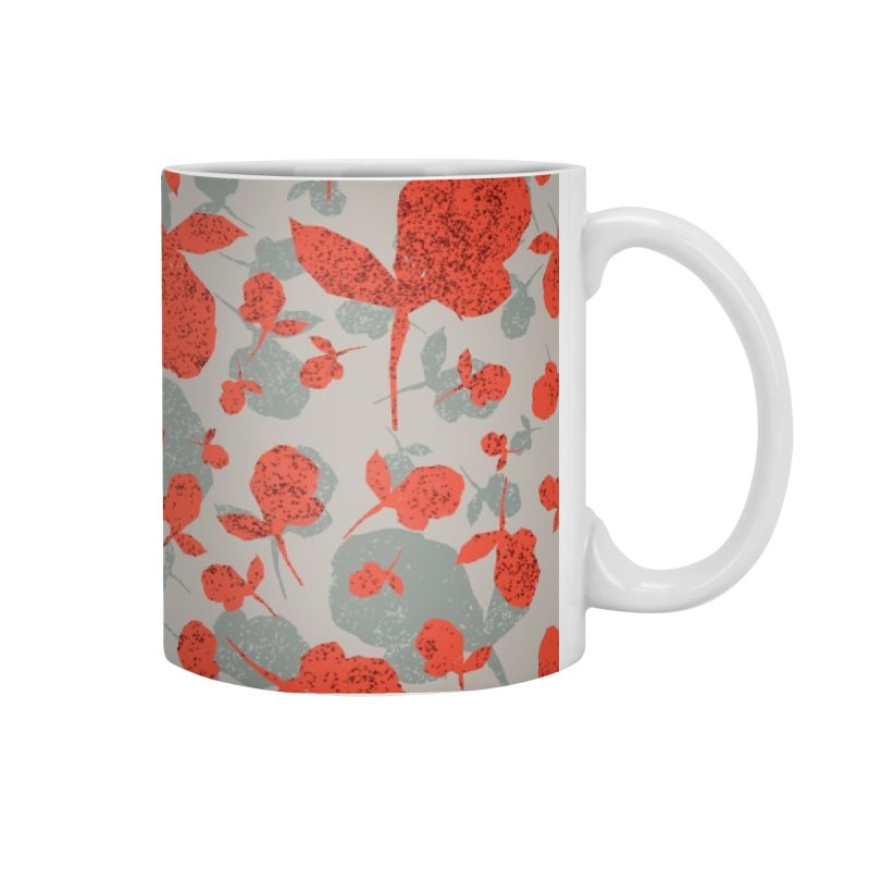 Red and Gray Rose Pattern Accessories Mug by Cactus Branch