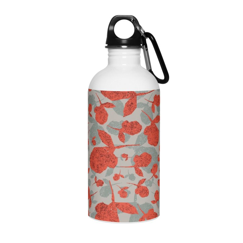 Red and Gray Rose Pattern Accessories Water Bottle by Cactus Branch