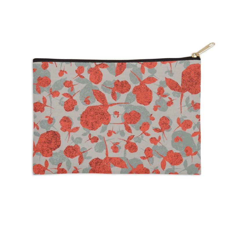Red and Gray Rose Pattern Accessories Zip Pouch by Cactus Branch
