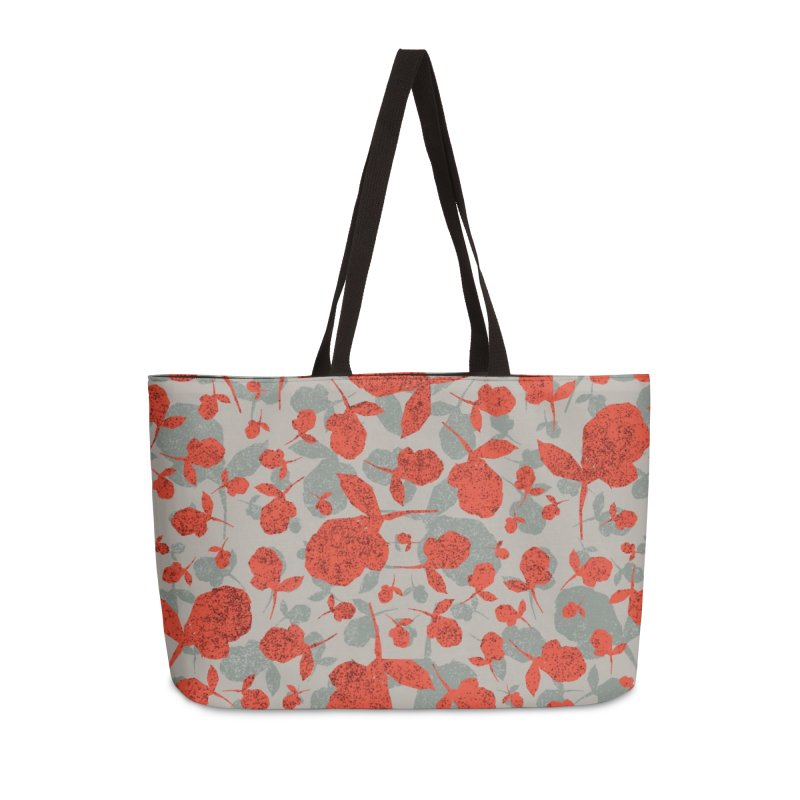Red and Gray Rose Pattern Accessories Weekender Bag Bag by Cactus Branch
