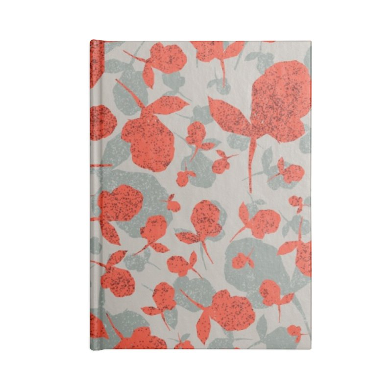 Red and Gray Rose Pattern Accessories Lined Journal Notebook by Cactus Branch