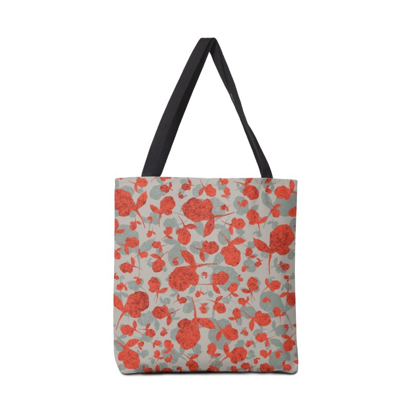 Red and Gray Rose Pattern Accessories Tote Bag Bag by Cactus Branch