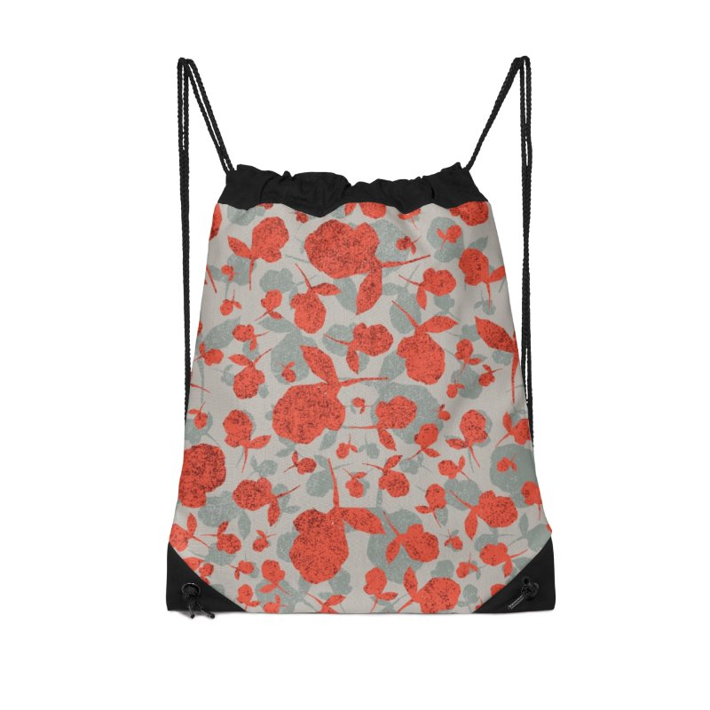 Red and Gray Rose Pattern Accessories Drawstring Bag Bag by Cactus Branch