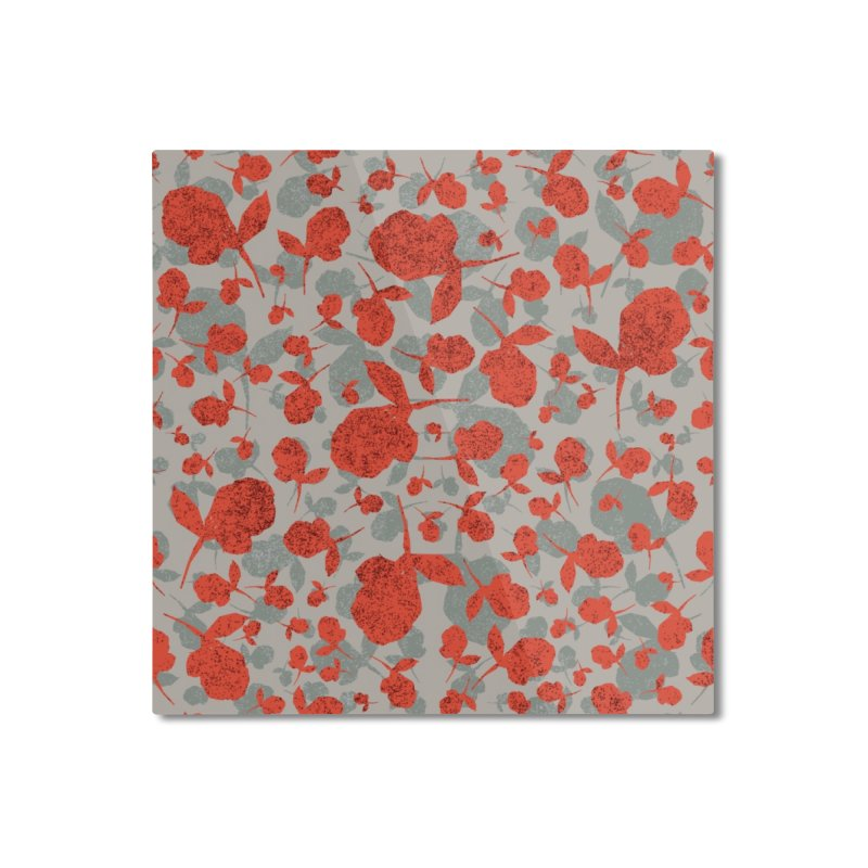 Red and Gray Rose Pattern Home Mounted Aluminum Print by Cactus Branch