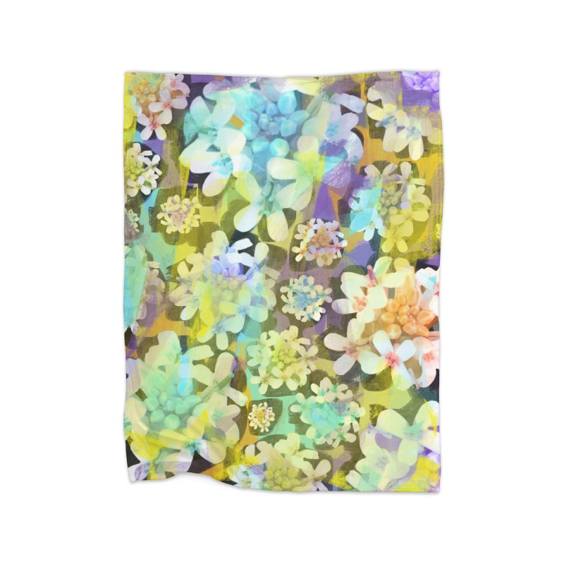 Forest Flower Collage Home Fleece Blanket Blanket by Cactus Branch