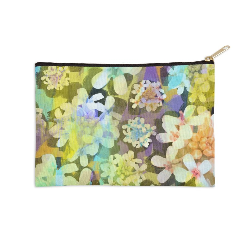 Forest Flower Collage Accessories Zip Pouch by Cactus Branch