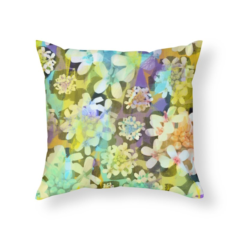 Forest Flower Collage Home Throw Pillow by Cactus Branch