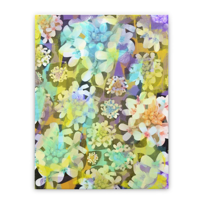 Forest Flower Collage Home Stretched Canvas by Cactus Branch