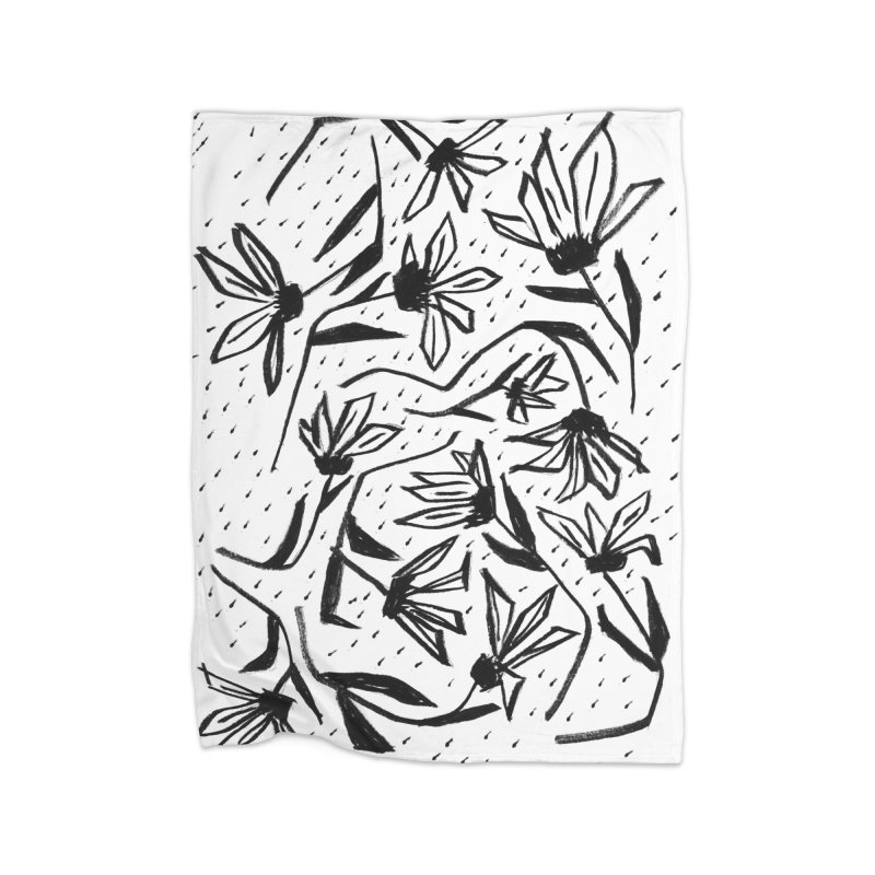 Black Marker Floral Home Fleece Blanket Blanket by Cactus Branch
