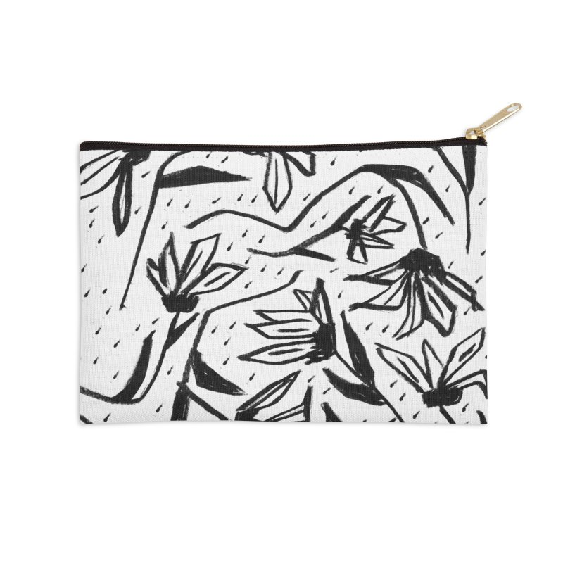 Black Marker Floral Accessories Zip Pouch by Cactus Branch