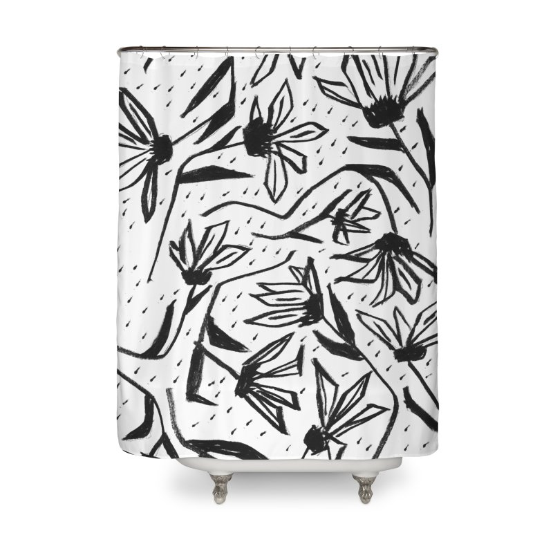 Black Marker Floral Home Shower Curtain by Cactus Branch