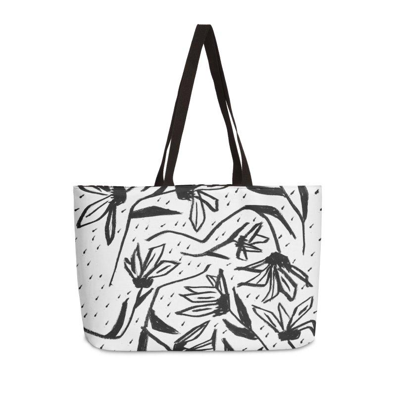Black Marker Floral Accessories Weekender Bag Bag by Cactus Branch