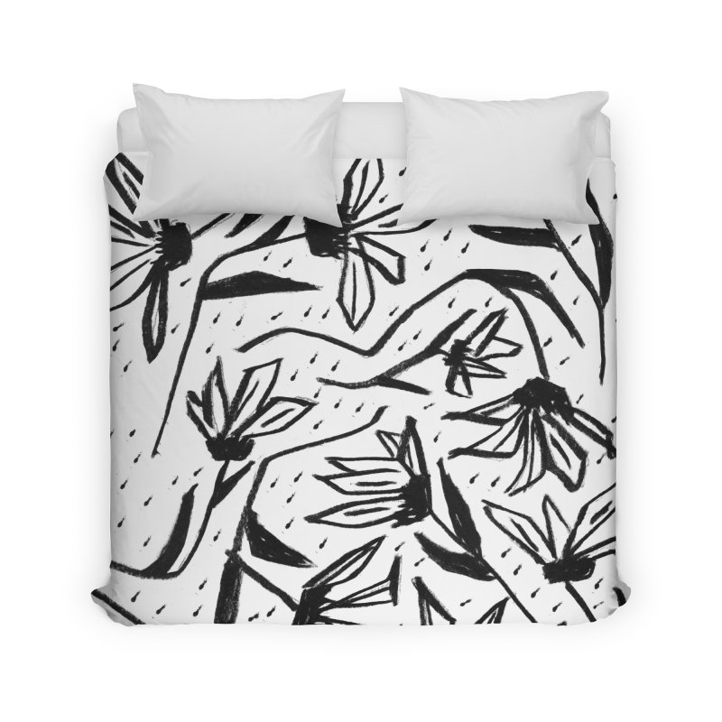 Black Marker Floral Home Duvet by Cactus Branch