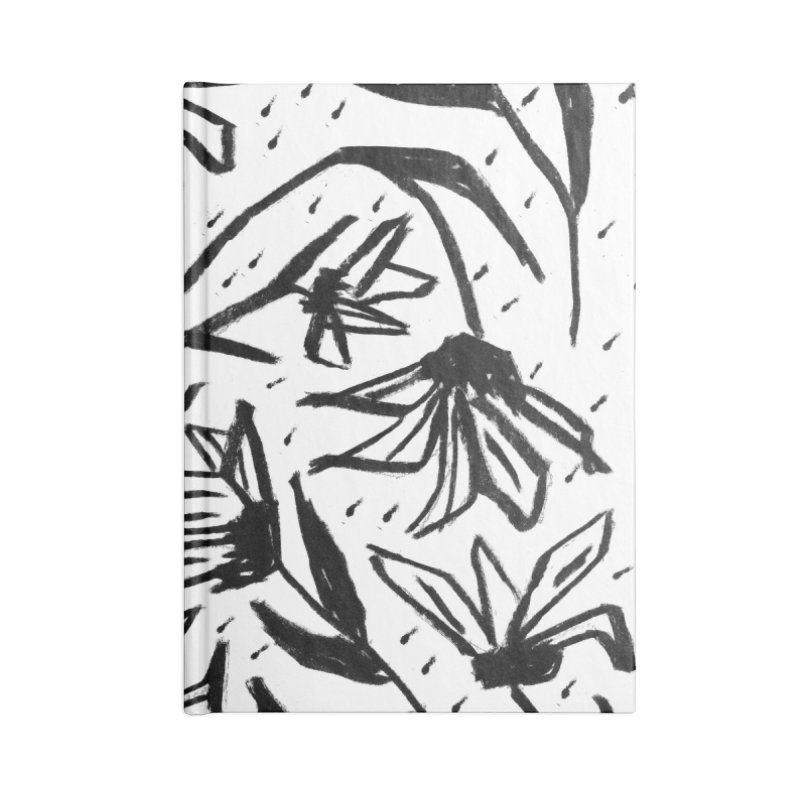 Black Marker Floral Accessories Blank Journal Notebook by Cactus Branch